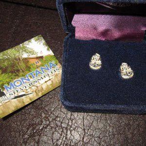 Montana Silversmiths Vintage USN Earrings Navy